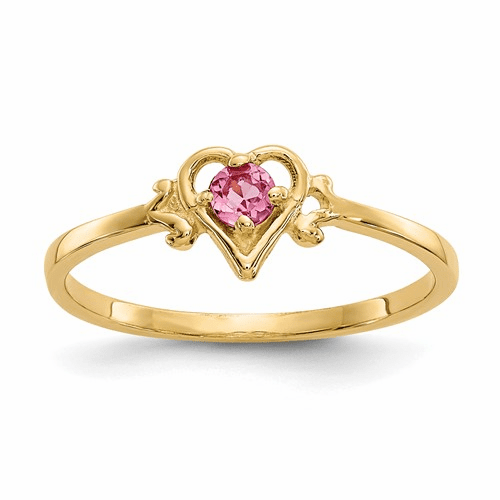 14k Pink Tourmaline Birthstone Heart Ring Yc433