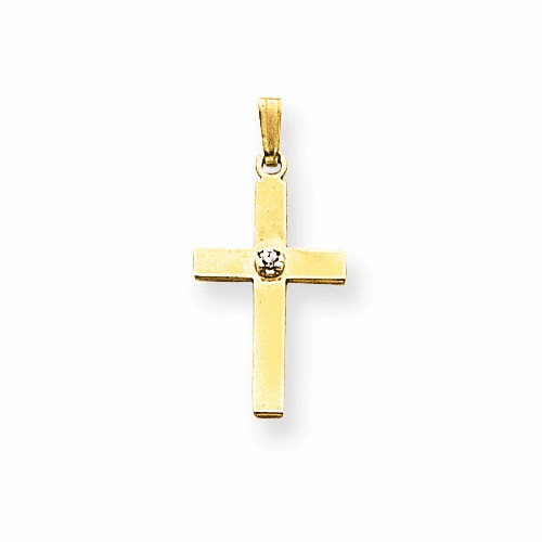 14k Polished .01ct. Diamond Cross Pendant Xr775