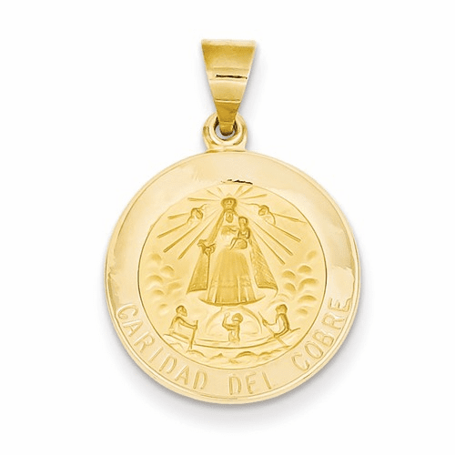 14k Polished And Satin Caridad Del Cobre Medal Pendant Xr1260