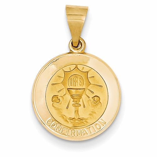 14k Polished And Satin Confirmation Medal Pendant Xr1392
