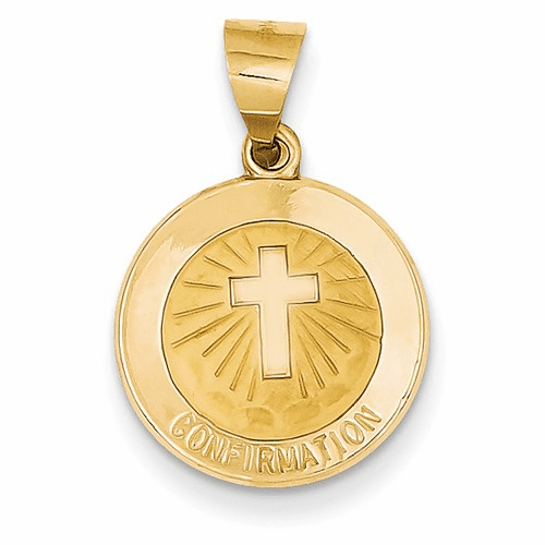 14k Polished And Satin Confirmation Medal Pendant Xr1393