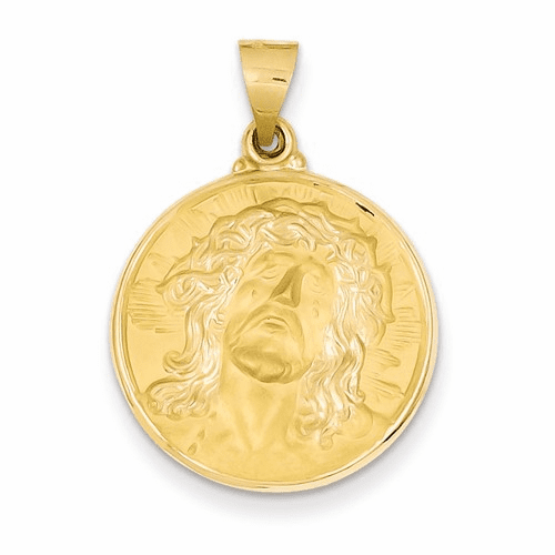 14k Polished And Satin Face Of Jesus Medal Pendant Xr1243