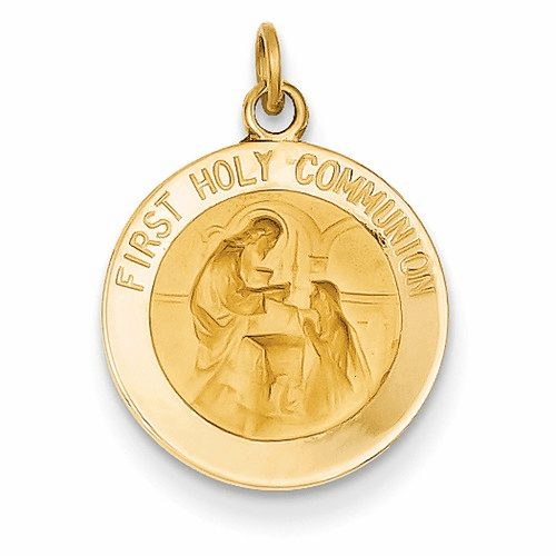 14k Polished And Satin First Holy Communion Medal Pendant Xr1388