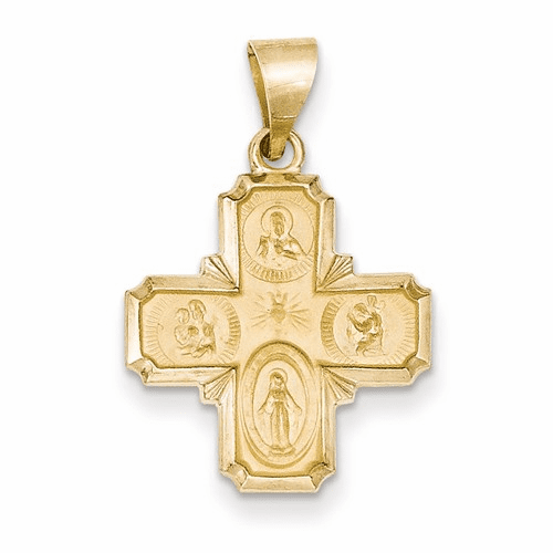 14k Polished And Satin Four Way Medal Pendant Xr1281