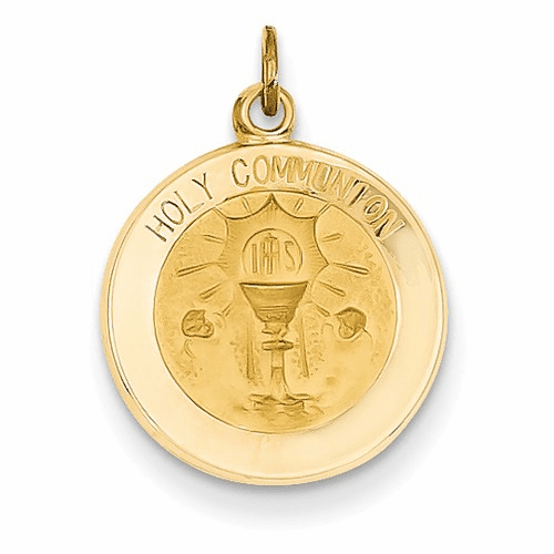 14k Polished And Satin Holy Communion Medal Pendant Xr1390