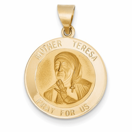 14k Polished And Satin Mother Teresa Medal Pendant Xr1370