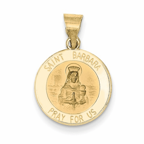 14k Polished And Satin St. Barbara Medal Pendant Xr1295