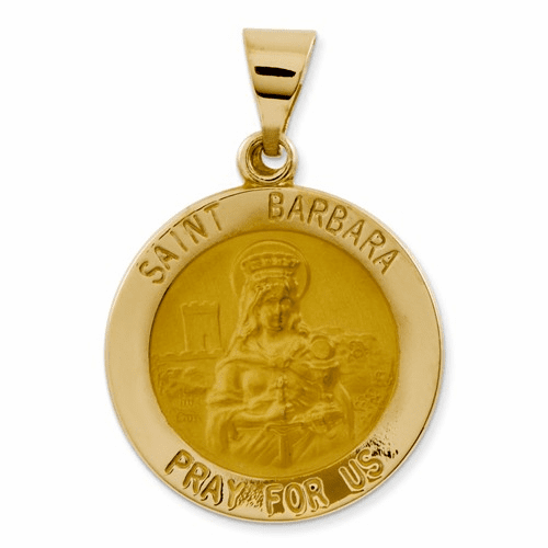 14k Polished And Satin St. Barbara Medal Pendant Xr1296