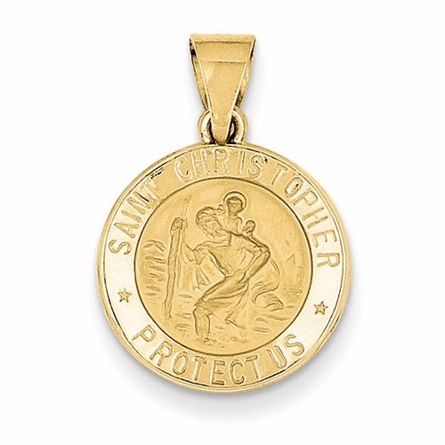 14k Polished And Satin St. Christopher Medal Pendant Xr1298