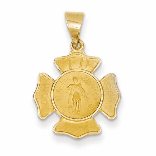 14k Polished And Satin St. Florian Badge Medal Pendant Xr1368
