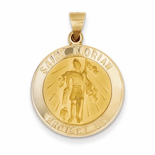 14k Polished And Satin St. Florian Medal Pendant Xr1319