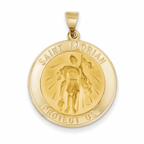 14k Polished And Satin St. Florian Medal Pendant Xr1320
