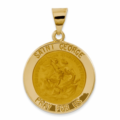 14k Polished And Satin St. George Medal Pendant Xr1329
