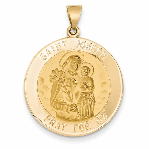 14k Polished And Satin St. Joseph Medal Pendant Xr1342