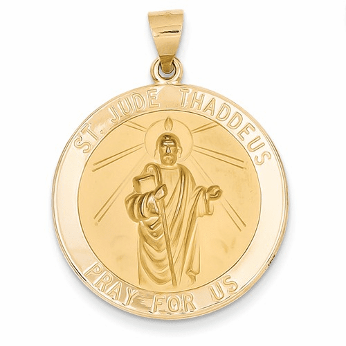14k Polished And Satin St. Jude Thaddeus Medal Pendant Xr1348