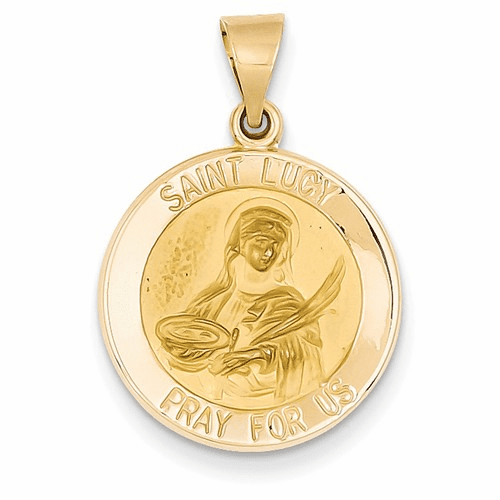 14k Polished And Satin St. Lucy Medal Pendant Xr1354