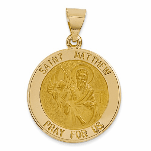 14k Polished And Satin St. Matthew Medal Pendant Xr1360