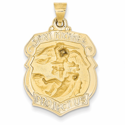 14k Polished And Satin St. Michael Badge Medal Pendant Xr1306