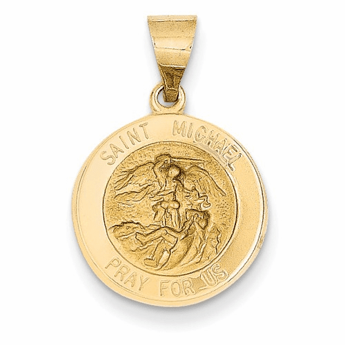 14k Polished And Satin St. Michael Medal Pendant Xr1362