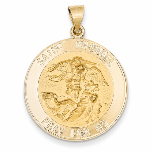 14k Polished And Satin St. Michael Medal Pendant Xr1365