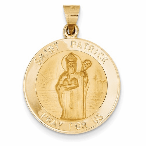 14k Polished And Satin St. Patrick Medal Pendant Xr1375