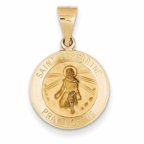 14k Polished And Satin St. Peregrine Medal Pendant Xr1379