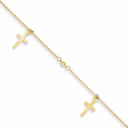 14k Polished And Textured Cross W/ 1in Ext. Anklet Ank267-9