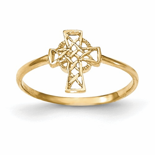 14k Polished Celtic Cross Ring K5728