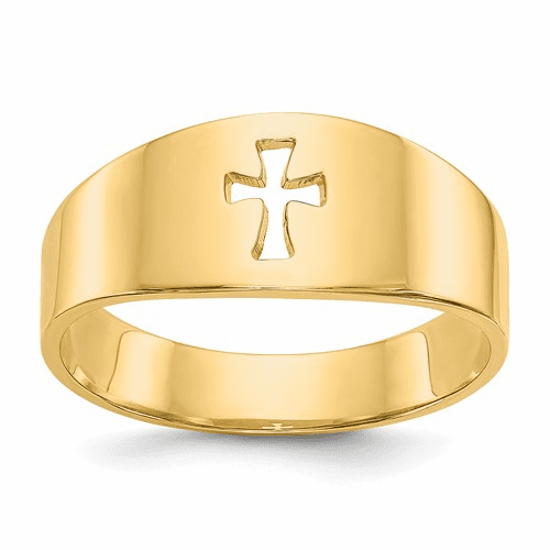 14k Polished Cut-out Cross Ring D973