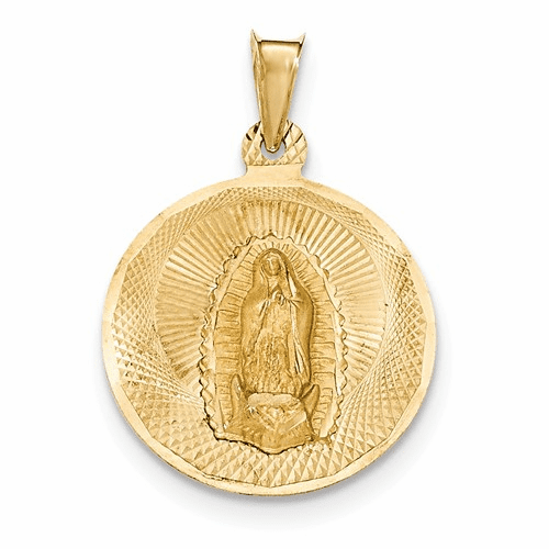 14k Polished & D/c Lady Of Guadalupe Circle Pendant K5632