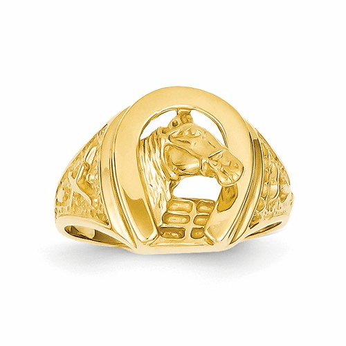 14k Polished Horseshoe With Horse In Center Ring R1