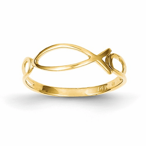 14k Polished Ichthus Fish Ring R135
