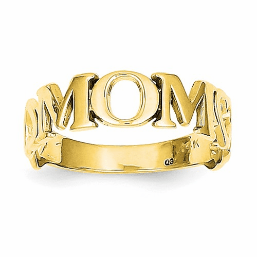 14k Polished Mom Ring R424