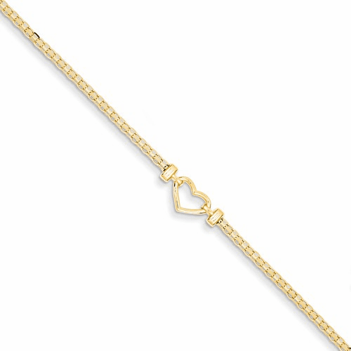 14k  Polished Open-heart Anklet Ank29-10