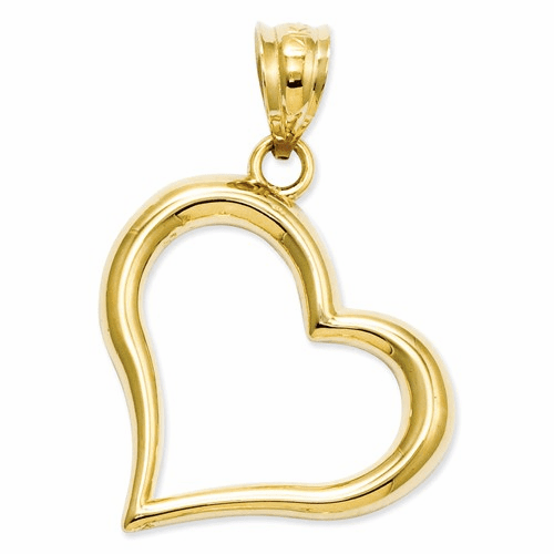 14k Polished Open Heart Pendant K1611
