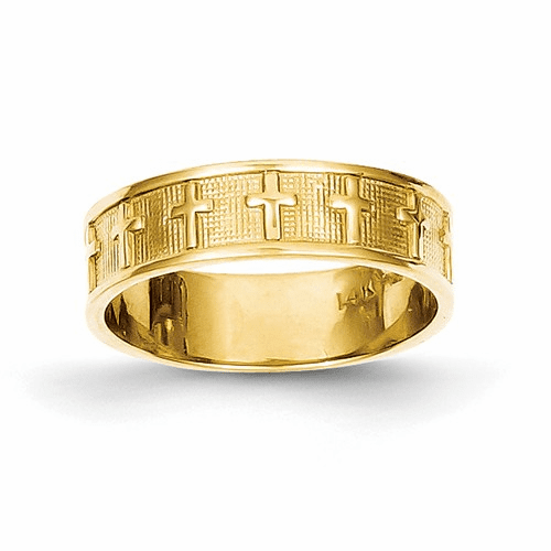 14k Polished & Satin Cross Band C2103