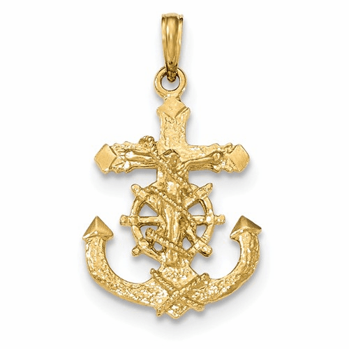 14k Polished & Textured 2-d Mariners Crucifix Rope/wheel Pendant