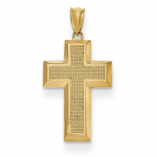 14k Polished & Textured Cross Pendant K5460