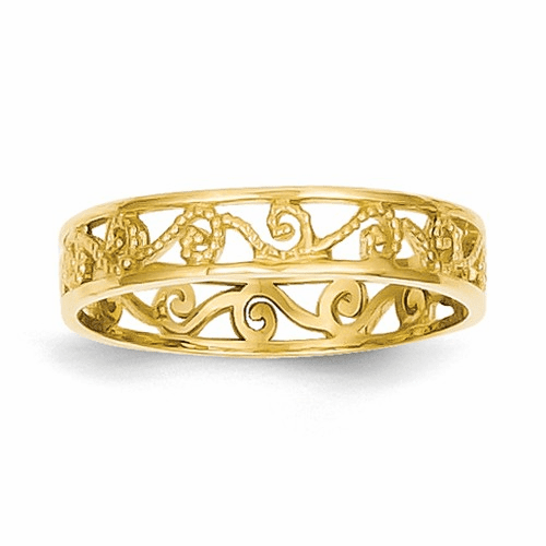 14k Polished & Textured Ring Band K5138