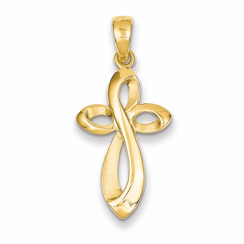 14k Polished W/satin Figure 8 Cross Pendant C4291