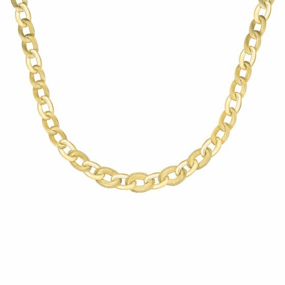 14k Popcorn Gold 18 Inch Yellow Diamond Cut Necklace w/ Lobster Clasp