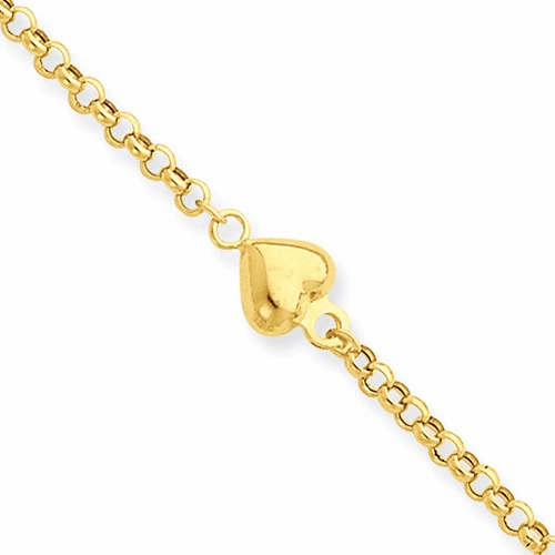 14k Puff Heart 9in With 1in Ext Anklet Ank220-10