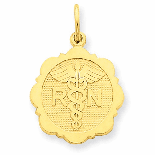 14k Registered Nurse Disc Charm C1785
