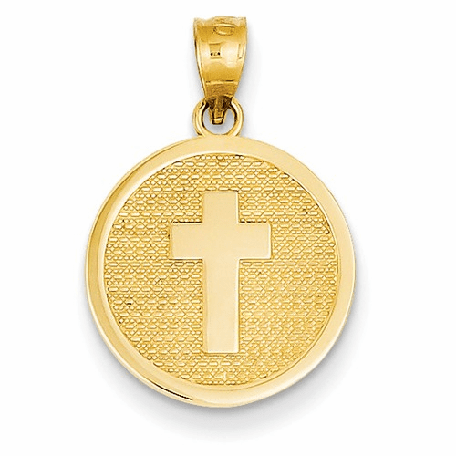 14k Reversible Cross & God Bless Charm K5090