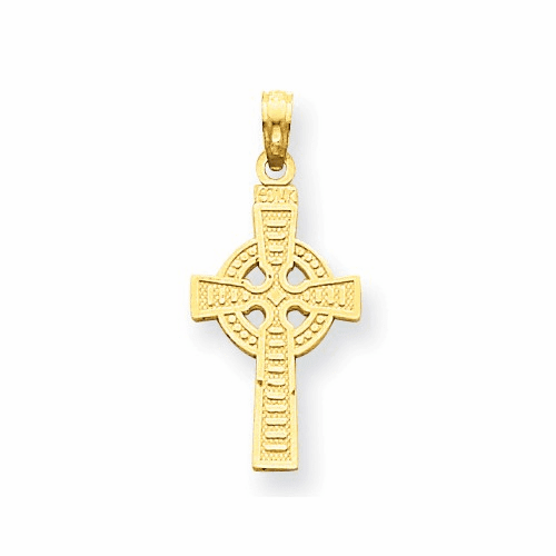 14k Reversible God Is Love Celtic Cross Pendant C3802