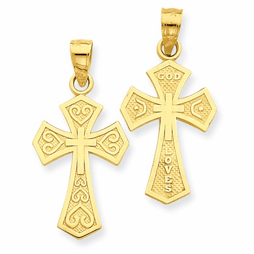 14k Reversible Passion Cross Pendant C4175