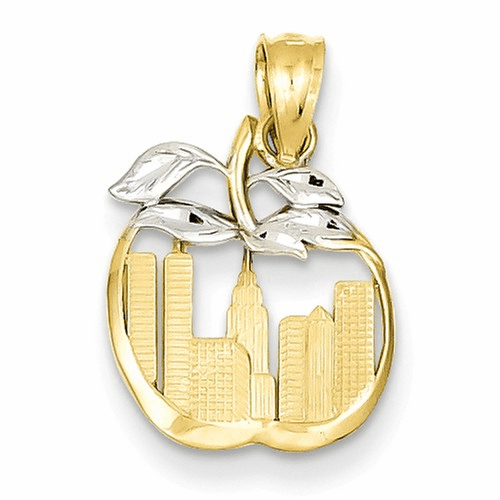 14k & Rhodium Cut-out New York Skyline In Apple Pendant Yc498