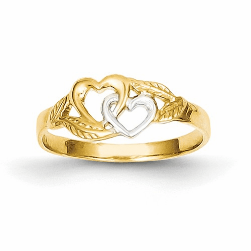 14k & Rhodium Double Heart Cut-out Ring K2071