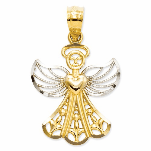 14k & Rhodium Filigree Angel Pendant Xr919