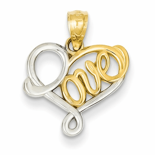 14k & Rhodium Love Pendant D3846